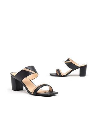 Black Nude Handcrafted Genuine Leather Block Heels