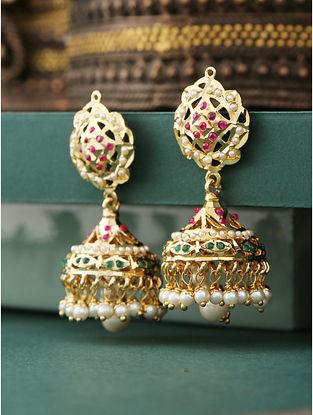 Red Green Gold Plated Jadau Jhumki Earrings