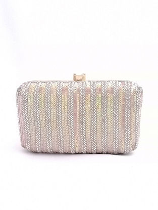 Silver Handcrafted Sequined Silk Clutch