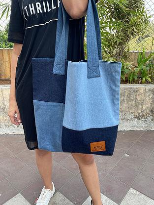 Blue Handcrafted Denim Cotton Tote Bag