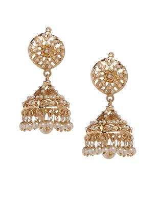 White Gold Plated Jadau Jhumki Earrings