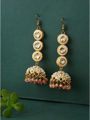 White Peach Gold Plated Jadau Jhumki Earrings