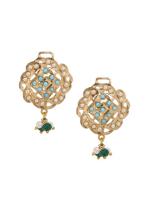 Blue Green Gold Plated Jadau Earrings