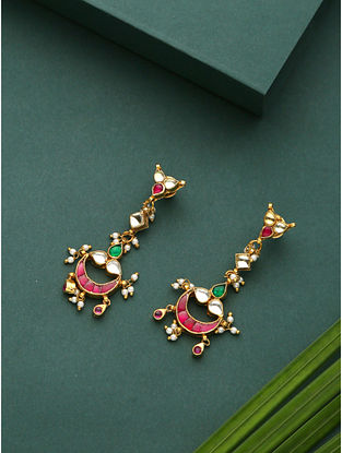 Red Green Gold Plated Kundan Earrings