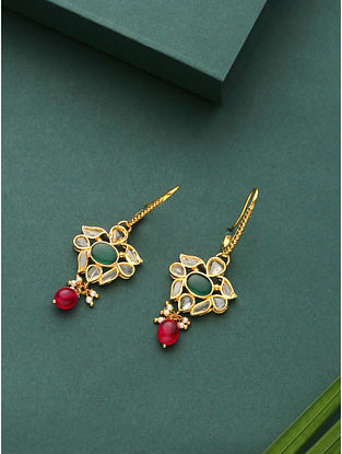 Green Red Gold Plated Kundan Earrings