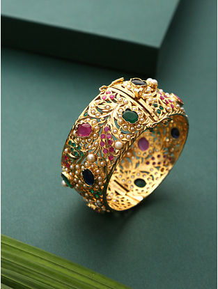 Pink Green Gold Plated Jadau Bangle