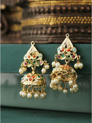 Multicolored Gold Plated Jadau Jhumki Earrings with pearls