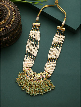 White Green Gold Plated Beaded Jadau Necklace