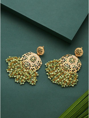 White Greeen Gold Plated Beaded Jadau Earrings