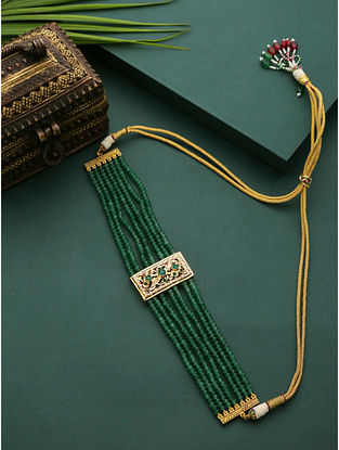 Green Gold Plated Beaded Jadau Choker Necklace