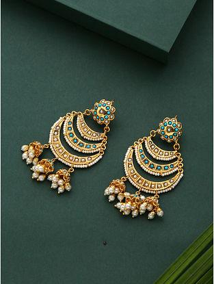 Blue Gold Plated Jadau Chandbali Earrings With Pearls