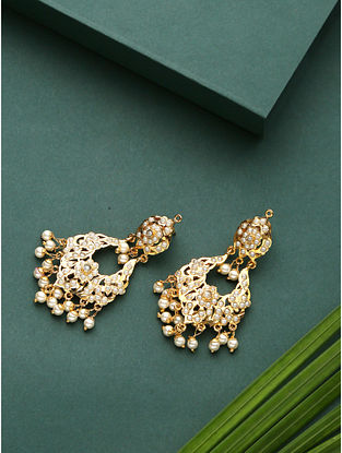 White Gold Plated Jadau Earrings With Pearls