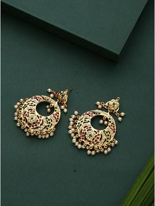 Red Green Gold Plated Jadau Chandbali Earrings
