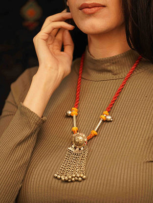Orange Yellow Silver Tone Tribal Necklace