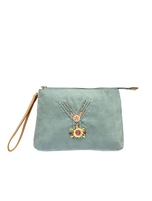 Green Handcrafted Suede Leather Pouch