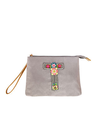 Grey Handcrafted Suede Leather Pouch