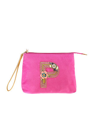 Pink Handcrafted Suede Leather Pouch
