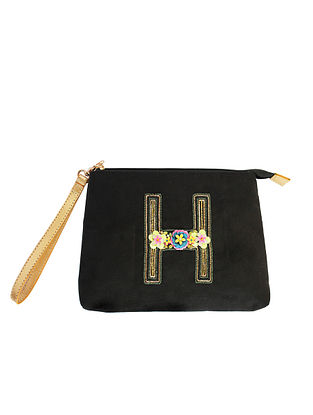 Black Handcrafted Suede Leather Pouch
