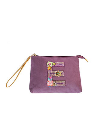 Purple Handcrafted Suede Leather Pouch