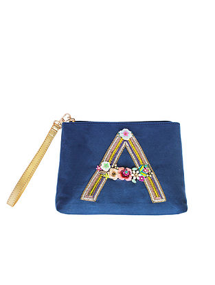 Blue Handcrafted Suede Leather Pouch