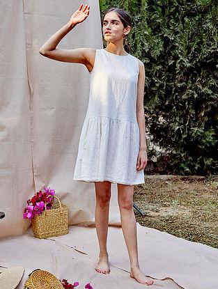 White Cotton Neps Dress