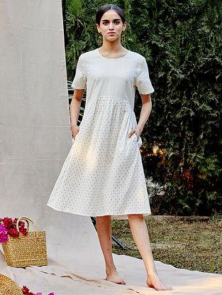 White Cotton Dobby Dress