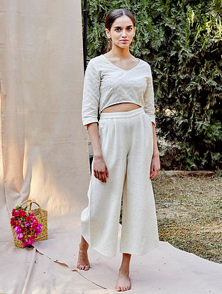 White Cotton Cutwork Crop Top with Pants (Set of 2)