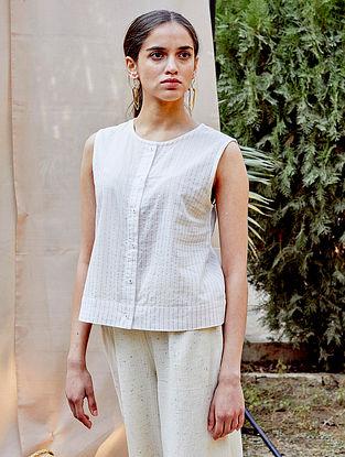 White Cotton Zari Striped Top