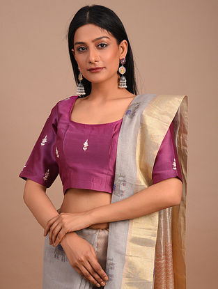 Pink Handwoven Chanderi Blouse with Embroidery