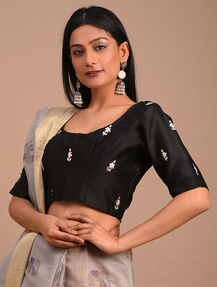 Black Handwoven Chanderi Blouse with Embroidery
