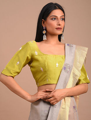 Mustard Handwoven Chanderi Blouse with Embroidery