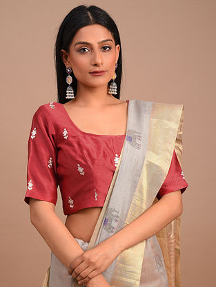 Red Handwoven Chanderi Blouse with Embroidery