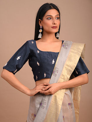 Blue Handwoven Chanderi Blouse with Embroidery