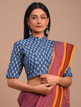 Blue Handwoven Block Printed Chanderi Blouse