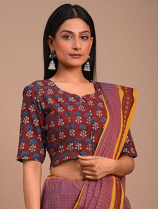 Red Handwoven Block Printed Cotton Blouse