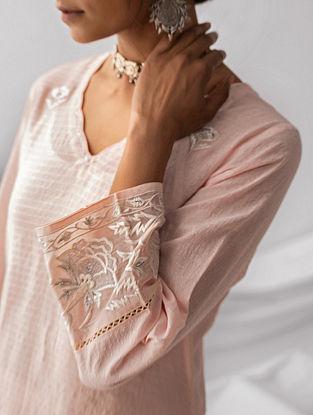 Pastel Pink Embroidered Cotton Dobby Kurta