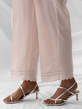 Pastel Pink Embroidered Cotton Dobby Palazzos