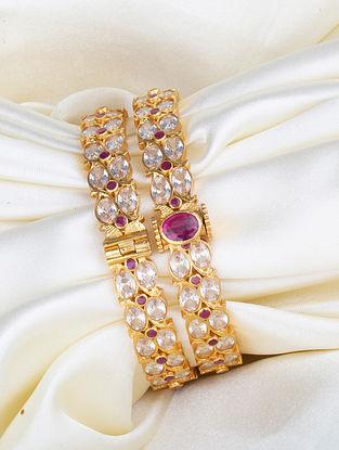Pink Gold Plated Kundan Silver Bangles (Size: 2/6)  (Set of 2)