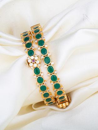 Green Gold Plated Kundan Silver Bangles (Size: 2/4)  (Set of 2)