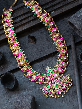 Pink Green Gold Plated  Silver Necklace