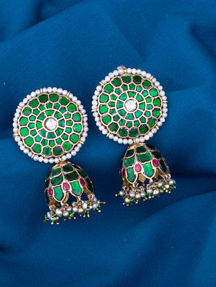 Pink Green Gold Plated  Silver Earrings