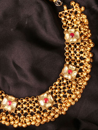 Red Yellow Gold Plated  Silver Necklace