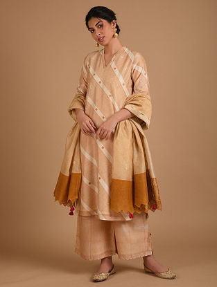 Ivory and Yellow Embroidered Chanderi Dupatta