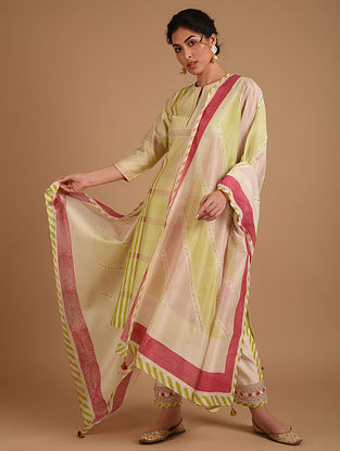 Ivory and Pink Embroidered Chanderi Dupatta