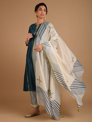 Ivory and Blue Embroidered Chanderi Dupatta