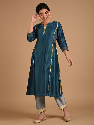 Blue Embroidered Chanderi Kurta with Cotton Lining
