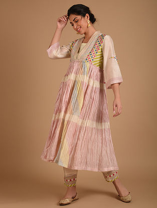 Ivory  Embroidered Chanderi Kurta with Cotton Lining