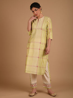 Ivory and  Green Embroidered Chanderi Kurta with Cotton Lining