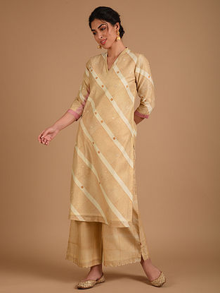Ivory and Yellow Embroidered Chanderi Kurta with Cotton Lining