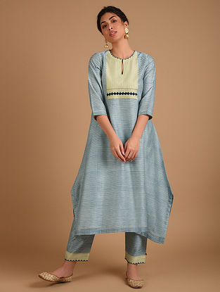 Ivory and Blue Embroidered Chanderi Kurta with Cotton Lining